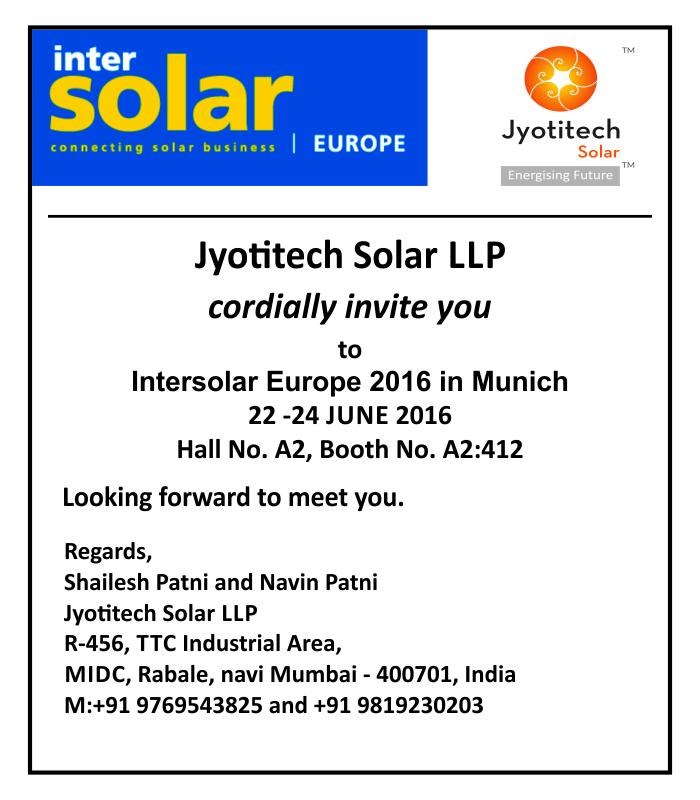 Invite for InterSolar 2016, Munich, Germany